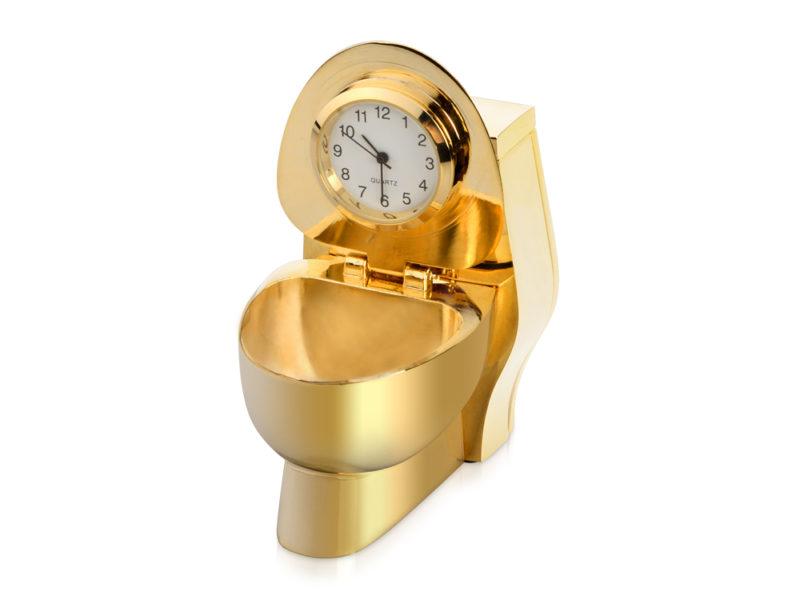 Часы «Золотой унитаз» арт. 104705_a