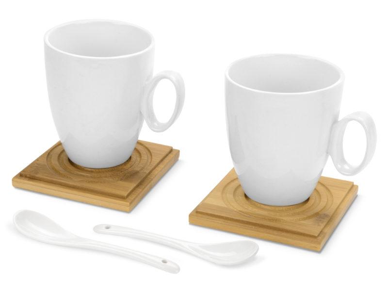 Набор: 2 чашки, 2 подставки, 2 ложки «Дуэт» арт. 829806_a
