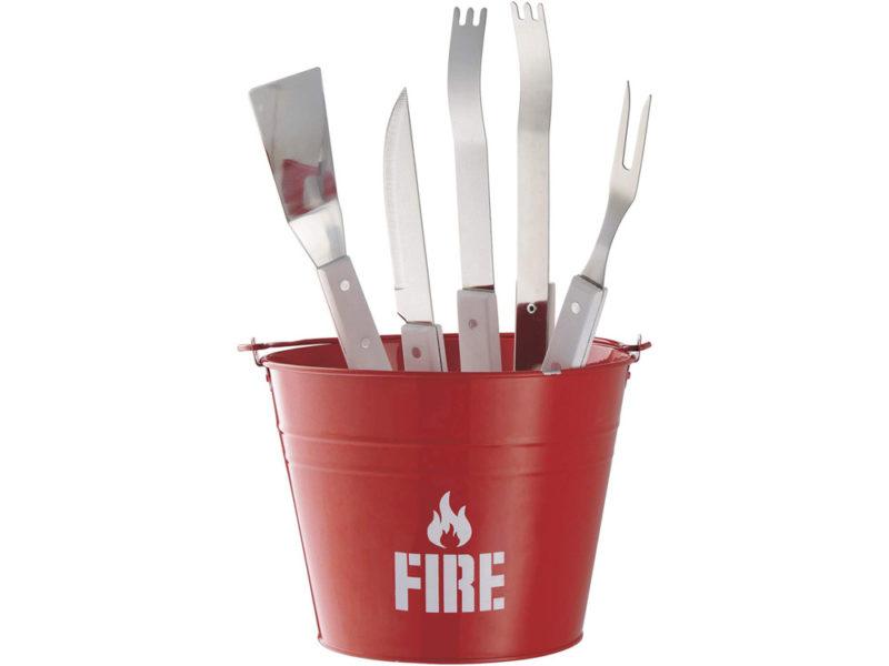Набор для барбекю «Огонь» : щипцы, лопатка, вилка, большой нож, ведро из металла арт. 10017900