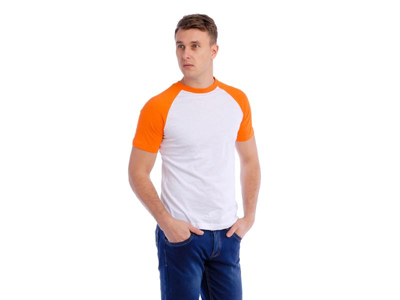Футболка бело-оранжевая