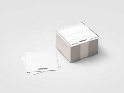 Blank white sticker note block plastic holder mockup